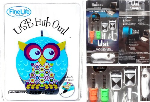 185 & Best Owl USB Hub u0026 Computer Earbuds Gift Set Teenage Girl Electronic Accessory Women Girlfriend (Style 7) by TravelNut® Unique Hip u0026 Trendy Birthday ...