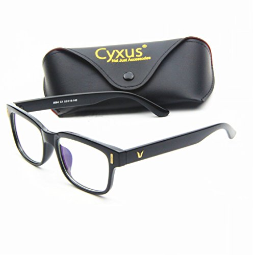 7ca546a0827 Cyxus Blue Light Filter  Better Sleep  Block UV Transparent Lens Black  Frame Vintage Glasses