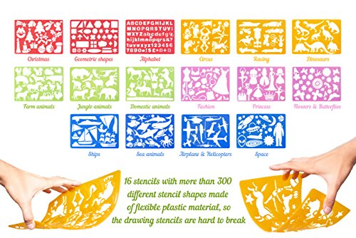 large 43 piece drawing stencils kit more than 300 shapes awesome educational toy for kids ideal gift for girls and boys creativity kit lightweight - Kids Drawing Stencils
