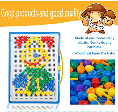 LiCB 296 Pcs Pile Up Toys Diy Science Kids Mushroom Nails Mosaic The