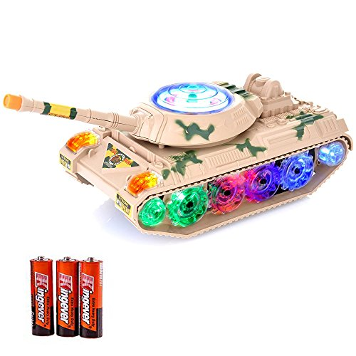 Military Army Tank Fighter Toy, with LED Flashing Lights and Sound, Bump  and Go Action Battery Operated for Kids