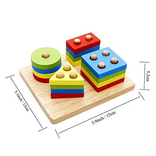 Baby Toys Age 4 : Rolimate wooden educational preschool shape color