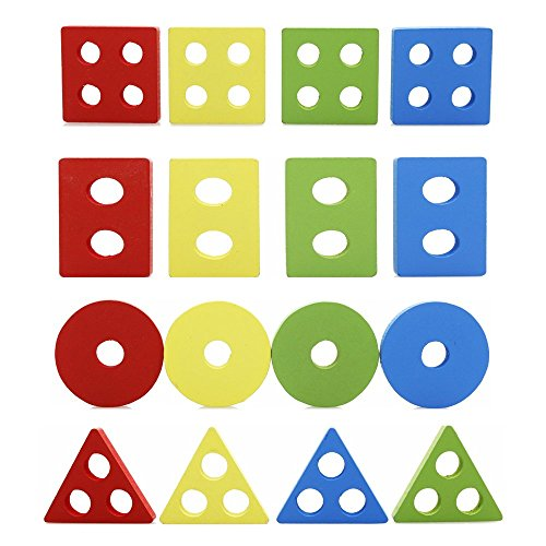 4 Year Old Birthday Gifts 2 Rolimate Wooden Educational Preschool Shape Color Recognition Geometric Board Block