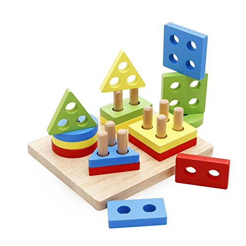 Toys For 4 And Up : Rolimate wooden educational preschool shape color