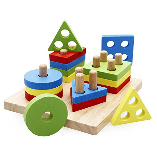 Educational Toys Nursery : Rolimate wooden educational preschool shape color