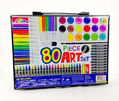Art Materials and Craft Drawing Set, 80 piece kit plus kids coloring ...