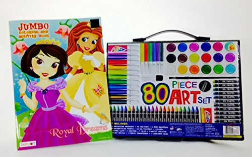 Art Materials And Craft Drawing Set 80 Piece Kit Plus Kids Coloring