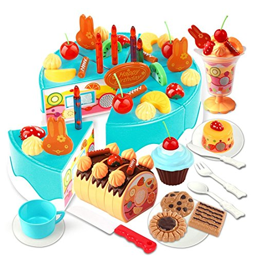 75pcs Birthday Cake Pretend Play Food Toy Set Yifan Plastic Kitchen Cutting Toy For Kids Girls Blue
