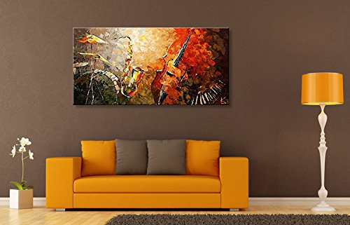 Everfun Art Hand Painted Oil Painting On Canvas Modern Music Instrument Wall  ...