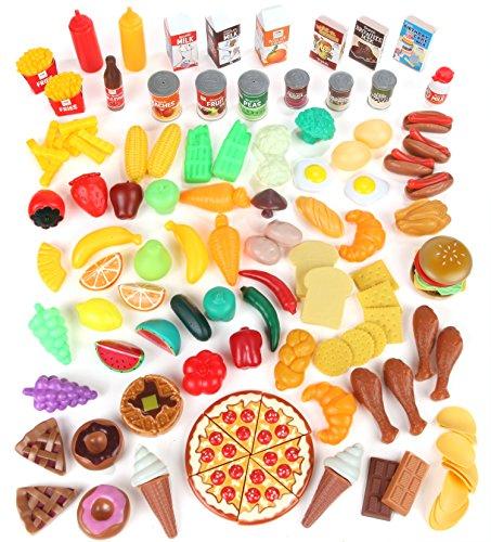 Pretend Food Toy Play Set Huge 125 Piece Ultimate