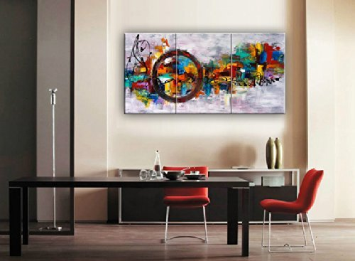 modern art for office. Santin Art-Circle Of Magic Modern Canvas Art Wall Decor Abstract Oil Painting Contemporary Paintings Framed For Home 3 Office P