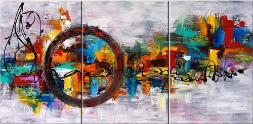 Santin Art Circle Of Magic Modern Canvas Art Wall Decor Abstract Oil Painting Contemporary Art Abstract Paintings Framed Canvas Wall Art For Home