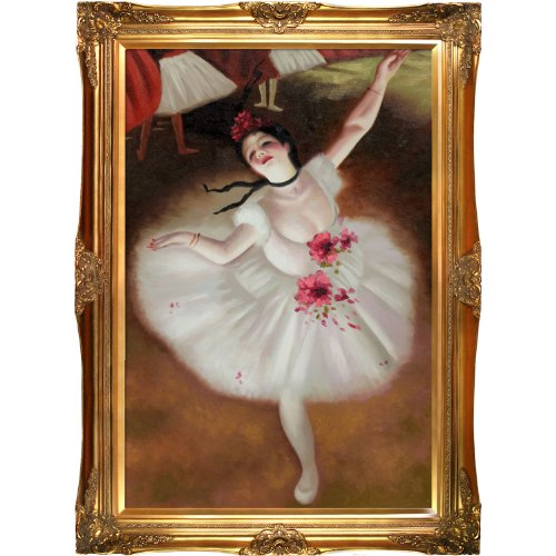 Overstockart star dancer on stage framed oil reproduction for Framed reproduction oil paintings