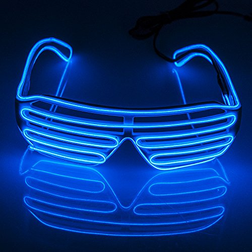 4735d95c77 Fronnor Blinking Party decorative LED Glasses El Wire Fashion Neon LED Light  Up Shutter Shaped Rave Costume Party DJ Bright Glasses For Halloween