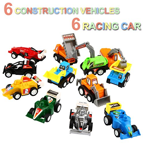 pull back vehicles 12 pack assorted construction vehicles and raced